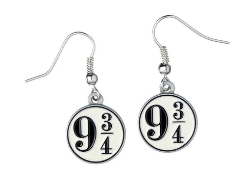 Official Harry Potter Earrings Platform 9 3/4 Charms on silver plated earring hooks