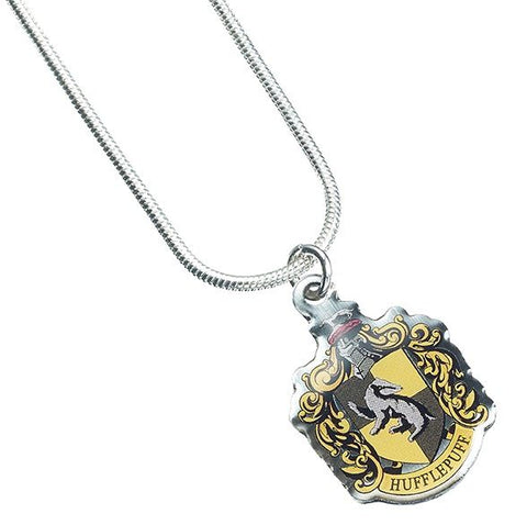 Official Harry Potter Hufflepuff Charm on a silver plated necklace.