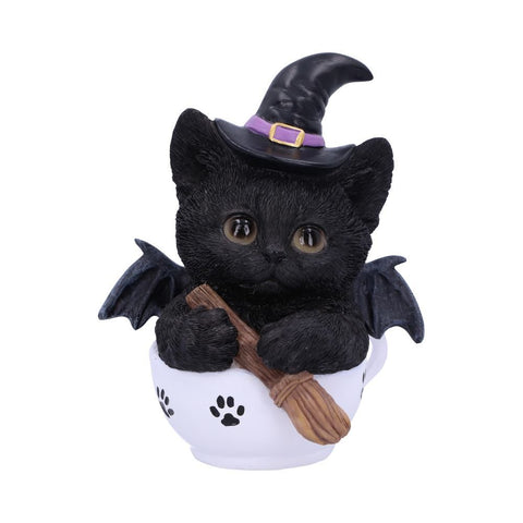 Kit-tea Witchy Cat sat in a Tea Cup - with her Witches Hat and Broomstick