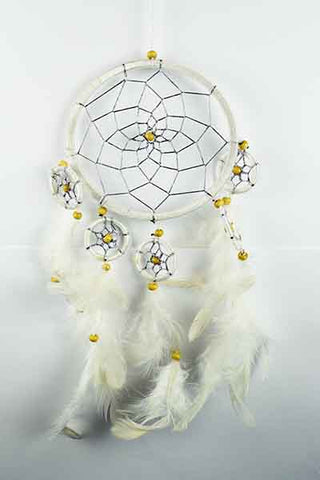 Large 12cm White Six Circle Dreamcatcher with beads and feathers from Mystical and Magical Halifax