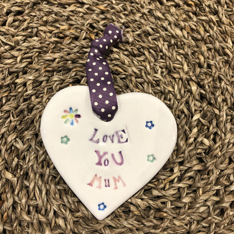 Jamali Annay Love You Mum Ceramic Heart with Hanging Ribbon