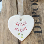 Lovely Niece Ceramic Hanging Heart from Mystical and Magical Halifax