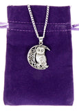 Sterling Silver Owl Moon Celtic Pentacle Pentagram Pendant