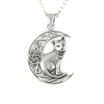 "Lisa Parker Sterling Silver Cat Moon Celtic Pendant on 18"" Silver Plated necklace"