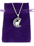 "Lisa Parker Sterling Silver Cat Moon Celtic Pendant on 18"" Silver Plated necklace on velvet pouch"