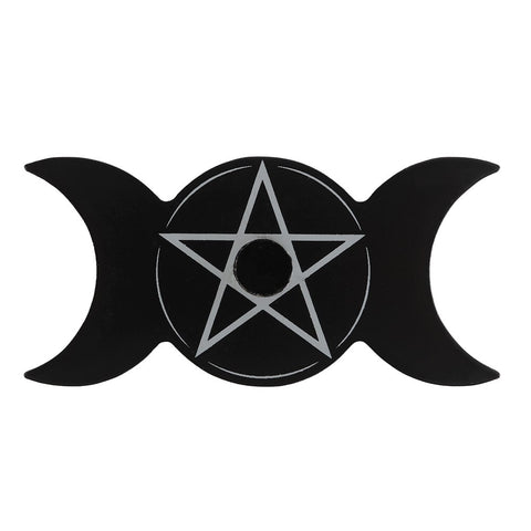 Triple Moon Pentacle Black Spell Candle Holder