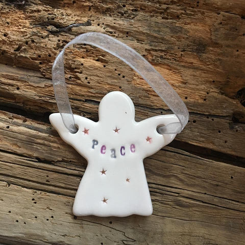 Ceramic Peace Angel with Hanging Ribbon from Mystical and Magical