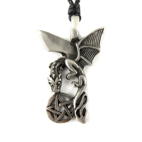 Dragon and Pentacle Pentagram Pewter Pendant