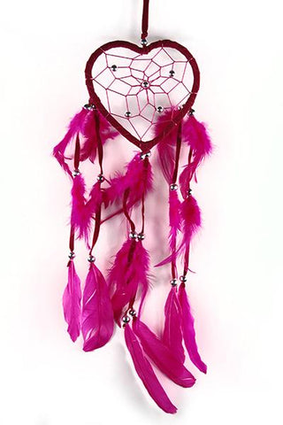 Pink Heart Dreamcatcher with Beads and Feathers.
