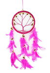 Pink Tree of Life Dreamcatcher with Beads and Feathers