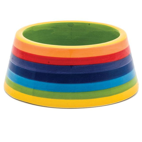 Rainbow Stripe Ceramic Cat Bowl