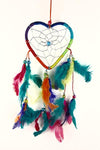 Rainbow Heart Dreamcatcher with Feathers