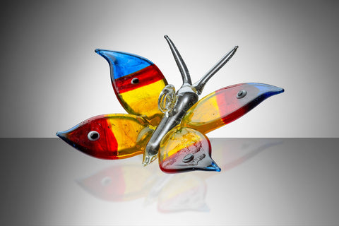 Glass Butterfly - Blue Red and Yellow