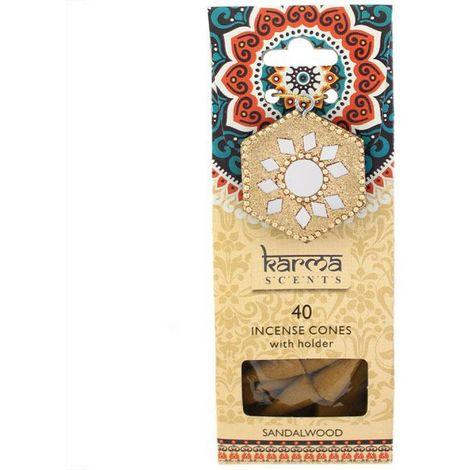 40 Sandalwood scented Incense Cones and Holder