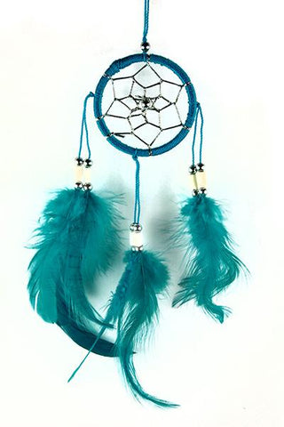 Turquoise Dreamcatcher with Bone Beads and Feathers.