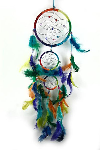 Triple Rainbow Dreamcatcher with coloured Feathers