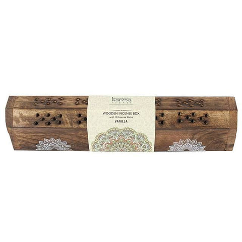 Karma Mandala Scents Wooden Incense Box with 10 Vanilla sticks