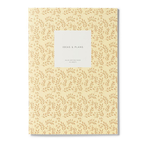 Kartotek Copenhagen Medium Leaves Notebook Yellow