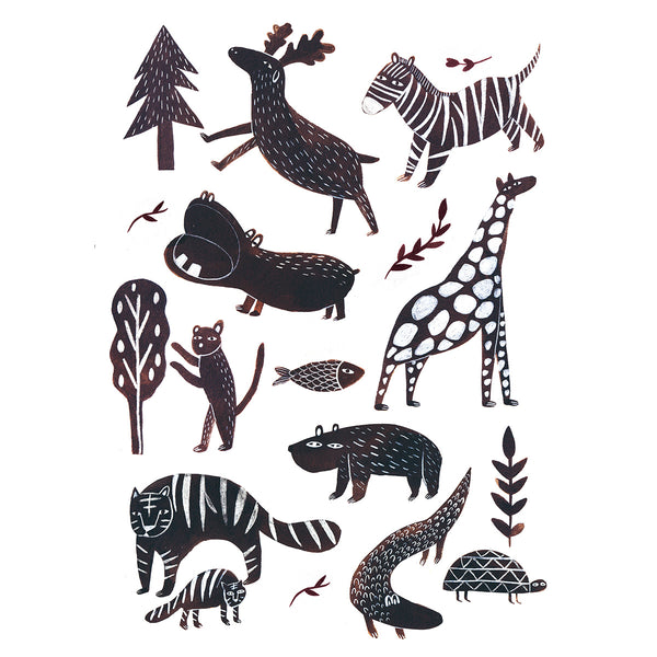 Marta Abad Blay Wild Animals Print - Illustrator - Marta Abad Blay -Children's Prints - Kids Decor - Child Bedroom - Artwork - Monochrome Artwork