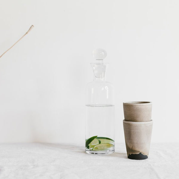 Notary Ceramics - Nesting tumblers - stacking tumblers - matte grey and brown glaze - handmade - sustainable design - quiet style - slow living - artisan - ceramics - pottery design