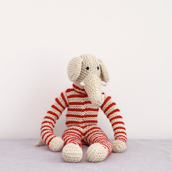 Hand Knitted Animal Fenella De Elephant - handmade - natural home - natural living - toy animals - knitted animals - baby and child - little ones - animal toys