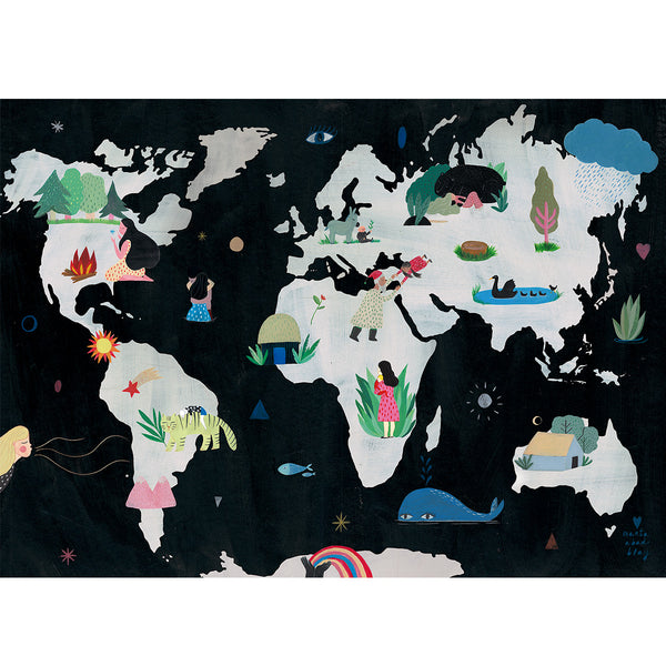We Are One Print Marta Abad Blay - We Are One - Childrens World Map - Illustrator - Artwork - Childrens Artwork - Nursery Decor - Girl Print - Marta Abad Blay - Natural Home - Sustainable Design