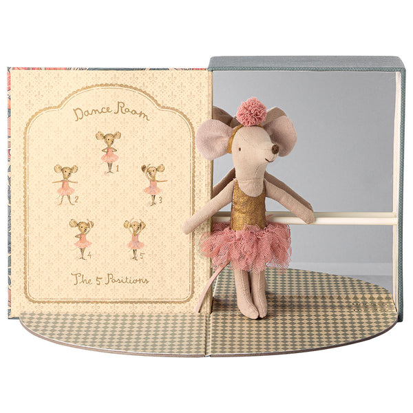 beautiful big sister mouse stands in her stunning ballet studio with barre and mirror ready for her dance lesson