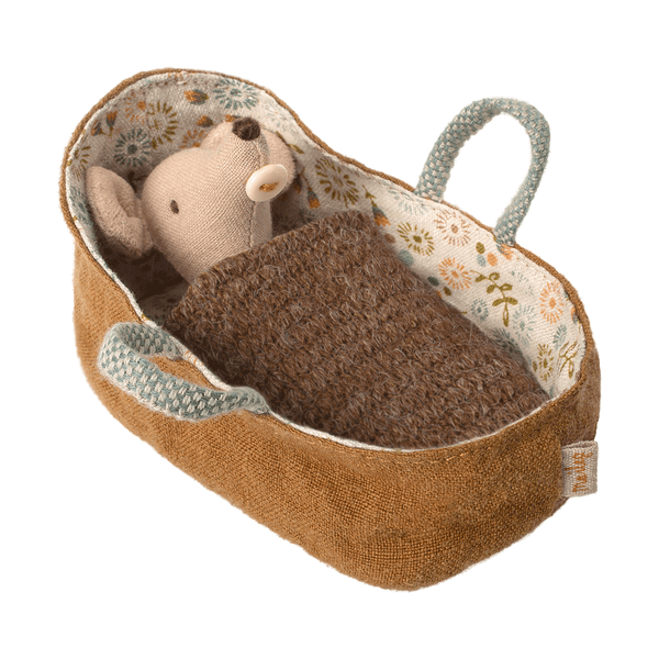 maileg baby mouse with carrycot - danish design - freyr and fell - sustainable design - natural home - alternative gift guide - natural Christmas