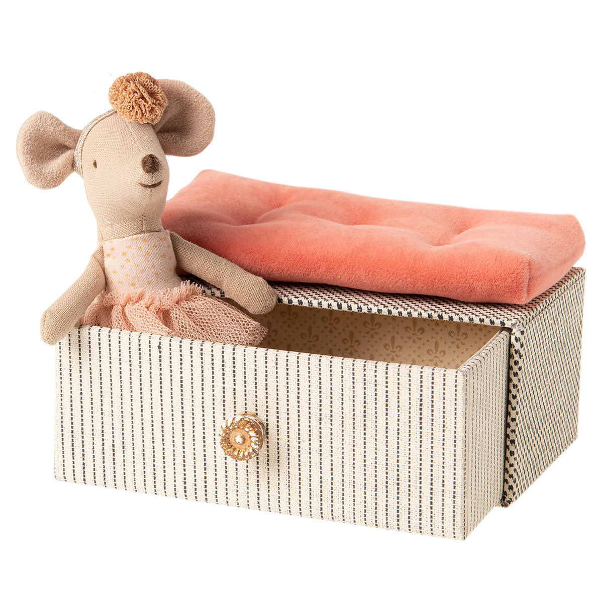 a little sister sized handmade fabric mouse in a ballet costume, sitting in a beautifully decoarted box that also acts as a daybed for a ballet school