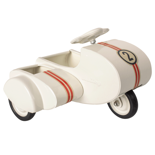 maileg white metal scooter with sidecar for mini mice - danish design - freyr and fell - sustainable design - natural home - alternative gift guide - natural Christmas