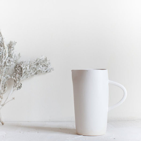 Small Simple Pitcher White Clay and Matt White Glaze