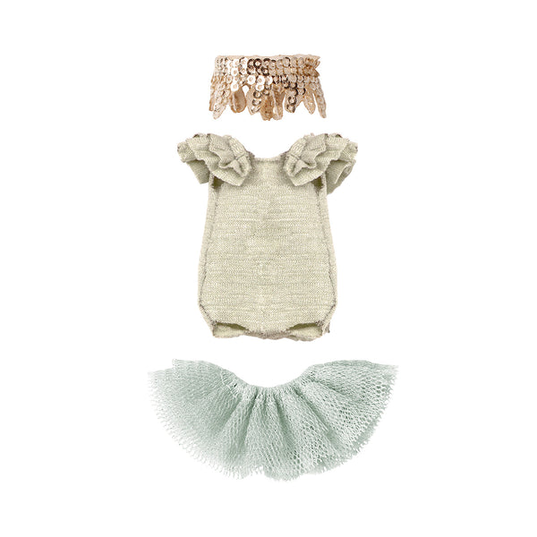 beautiful grey, mint and gold swan lake ballet costume for big sister mouse with tutu , leotard and sequined head band