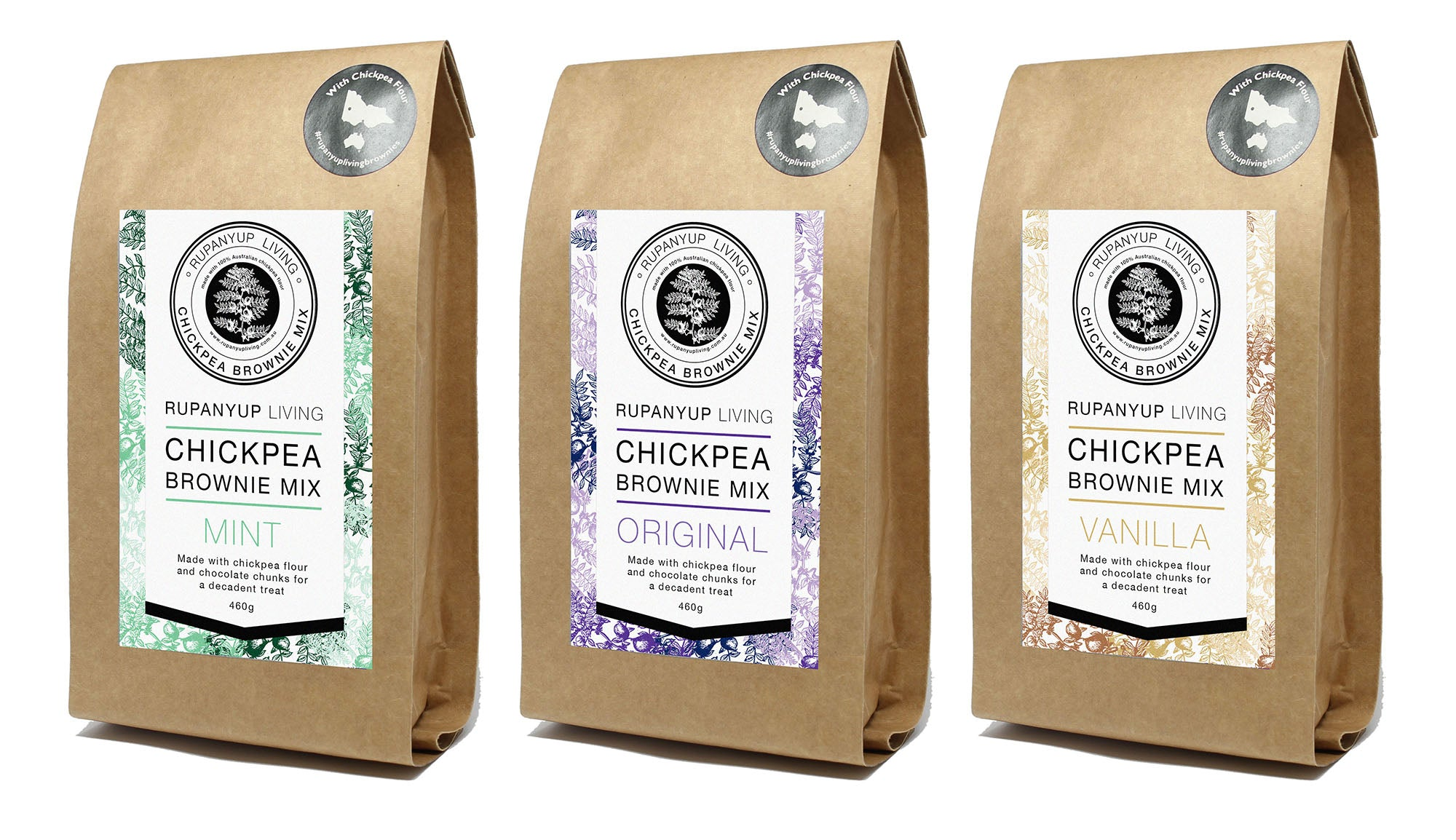 Chickpea Brownie Mix - 3 packs - Original, Mint, Vanilla
