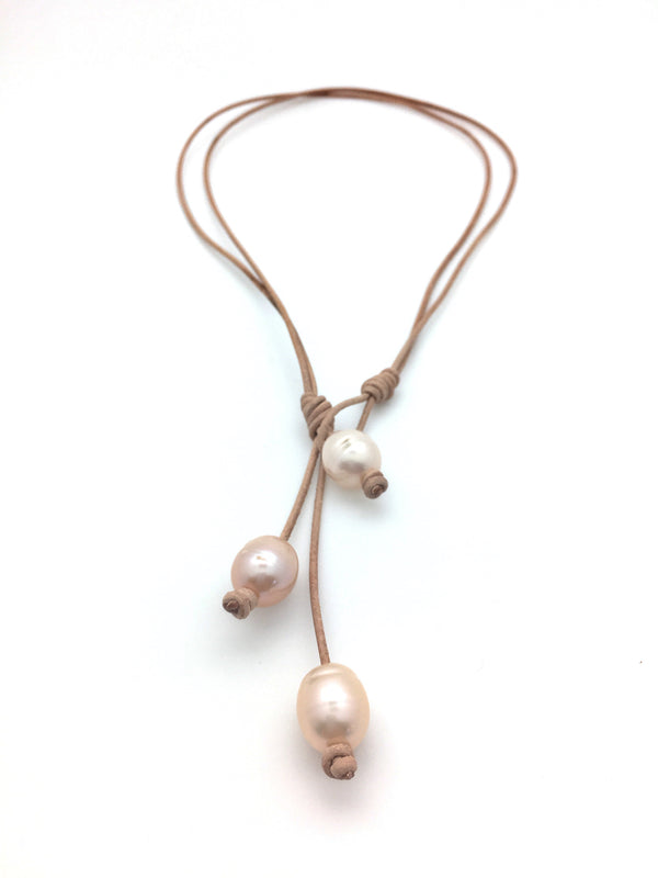 3 Pearl Lariat Necklace