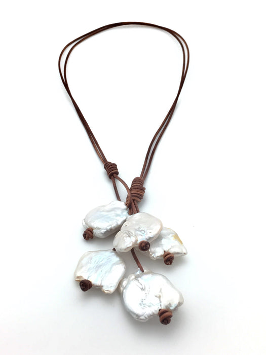 Biwa Pearl Lariat Necklace