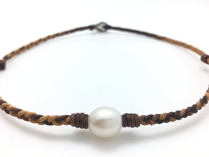 Single Pearl Braided Necklace