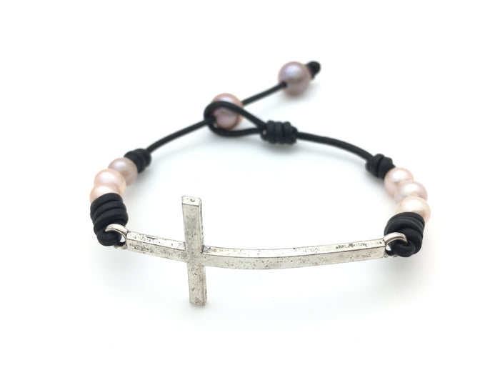 Cross Bracelet with Six Small Pearls