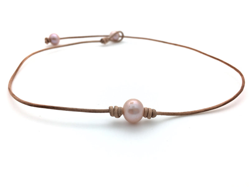 Single Pearl Choker Necklace - Round