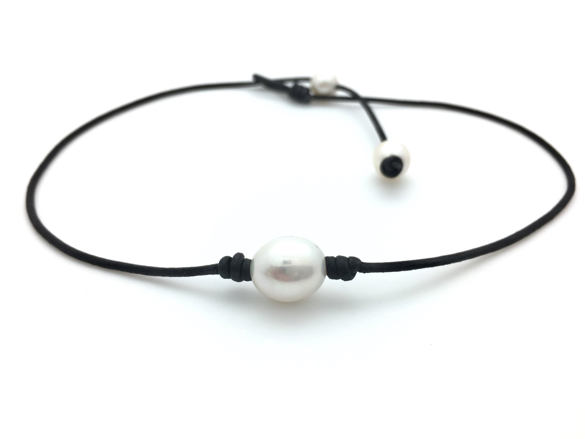 dp single jewelry for pearl black g women necklace leather handmade amazon choker com barch big white