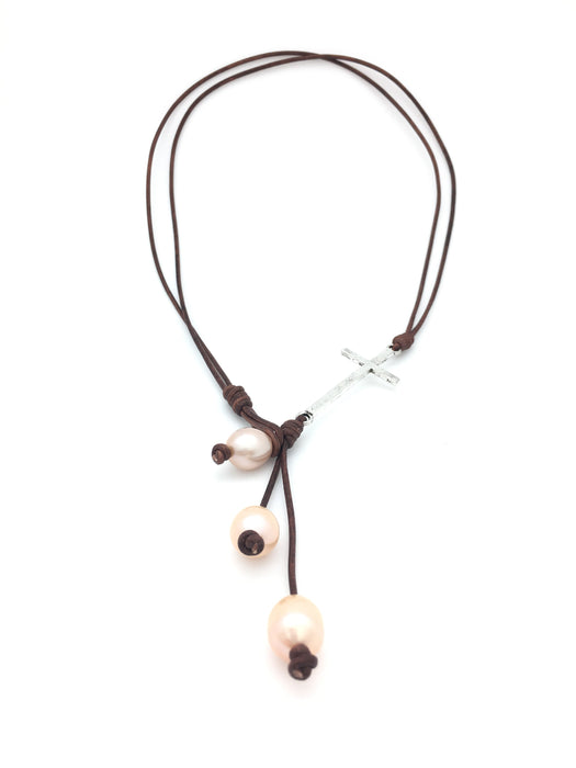 Cross Pearl Lariat Necklace