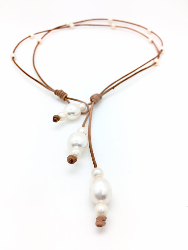 2 String 3 Way Pearl Necklace
