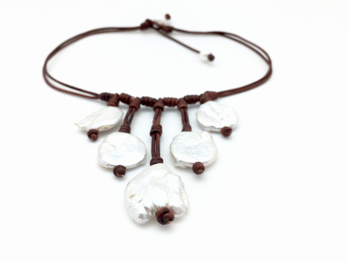 Biwa Pearl Bib Necklace