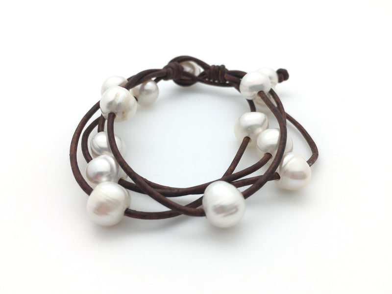 Four String Bracelet with Potato Pearls