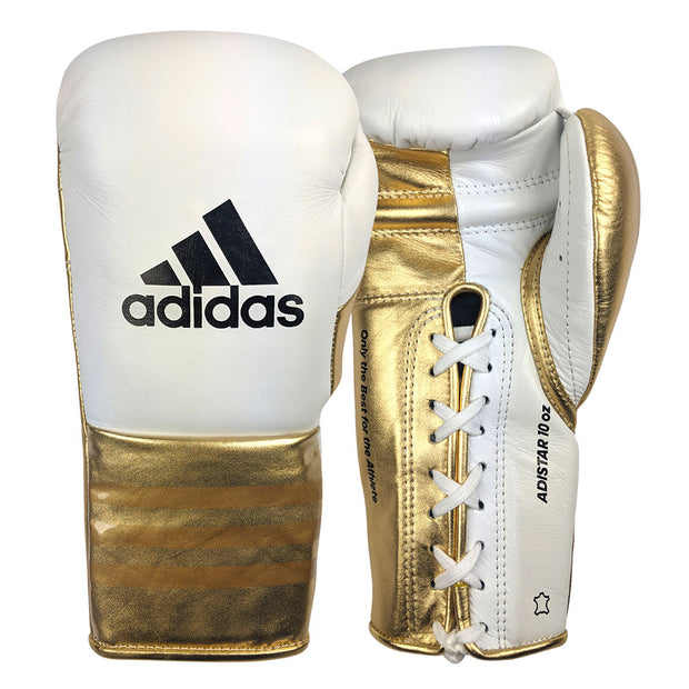 Adidas Speed 750 Adistar Fight Gloves 10oz Metallic Gold Front Back
