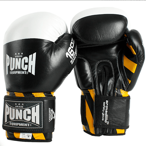 Punch Equipment Boxing Gloves 12oz / Black with White Armadillo Safety Boxing Gloves V-30 - Punch Equipment
