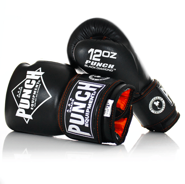 Punch Equipment Premium Package: Black Diamond Muay Thai Gloves + Pads + Trophy Getters Headgear + 3ft Mesh Bag