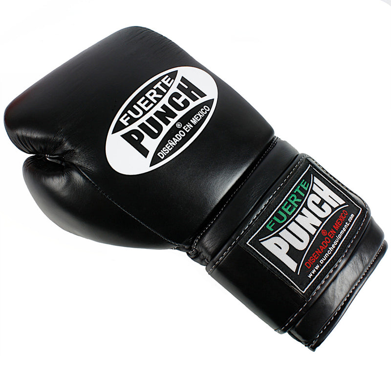 Black 12oz Punch Mexican Fuerte Elite Boxing Gloves