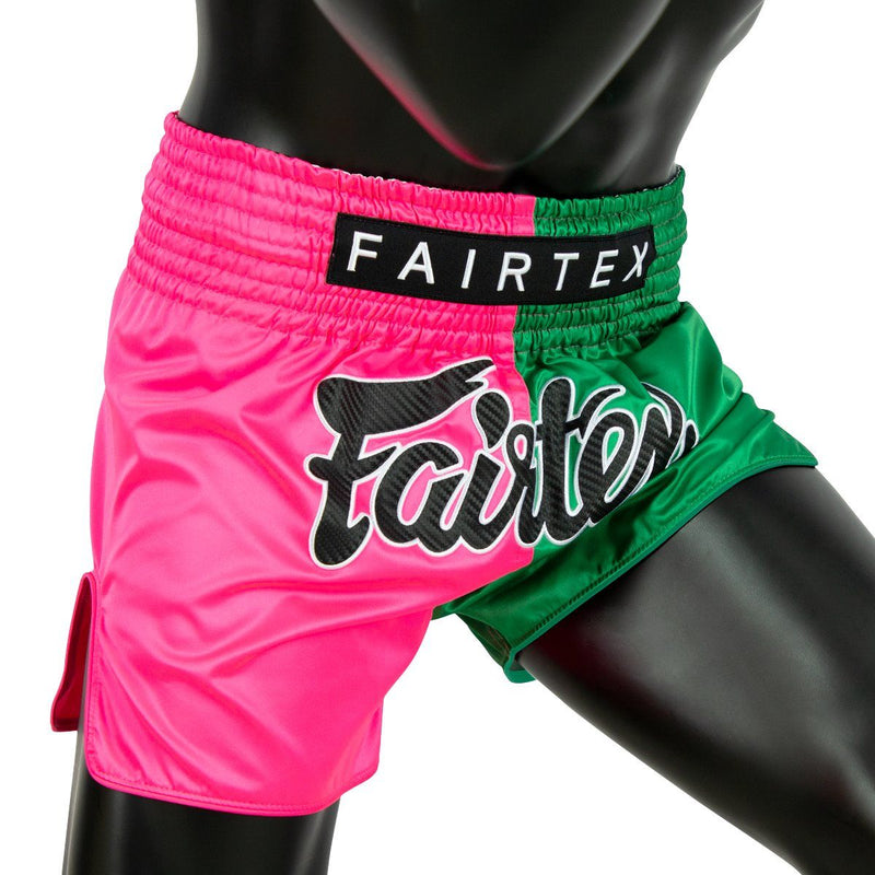 Muay Thai Shorts - BS1911 Pink/Green Front Side