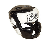 Fairtex Headgear Small / Black/White Fairtex Diagonal Vision Sparring Headguard  (HG13)
