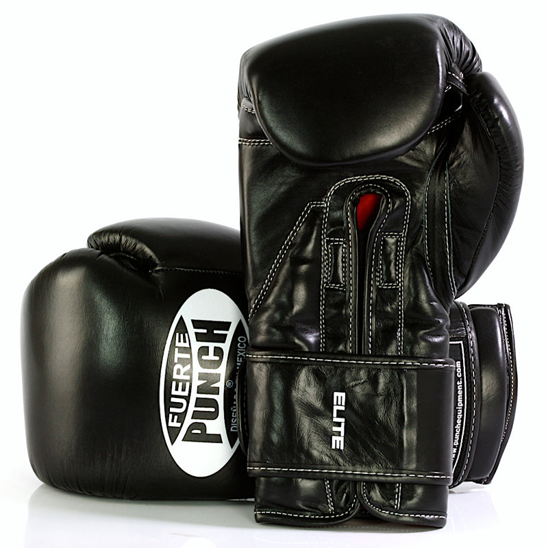 Black 16oz Punch Mexican Fuerte Elite Boxing Gloves